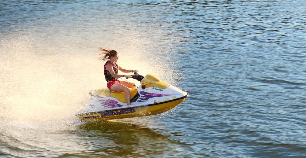 Photo of Woman on a Lake George Jet Ski Rental.