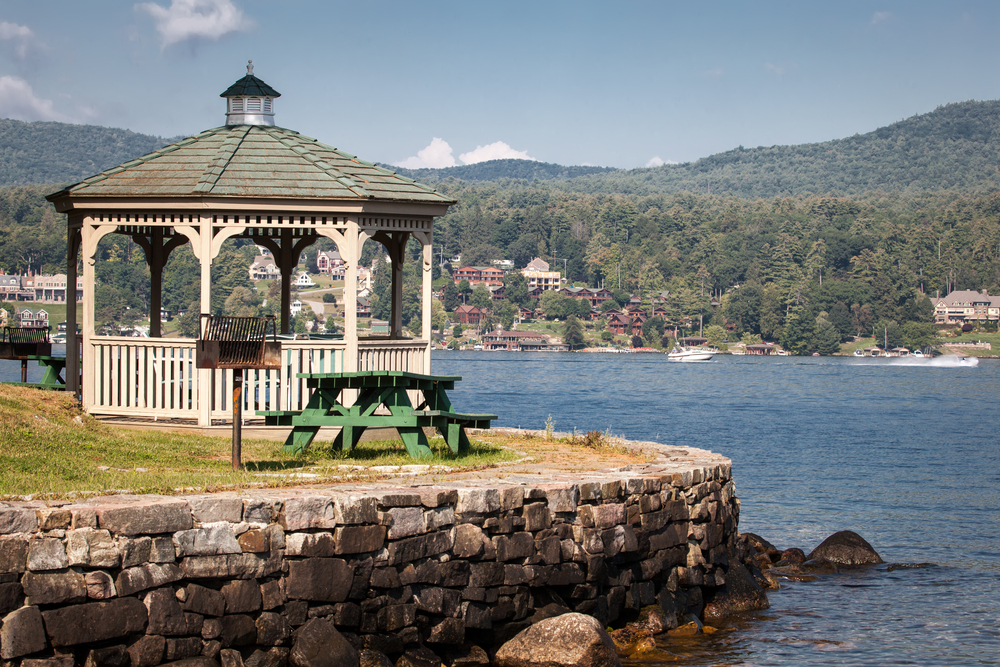 A pavillion sits on Lake George in Upstate New York.